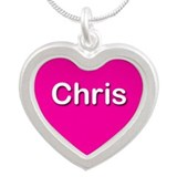 Chris Pink Silver Heart Necklace