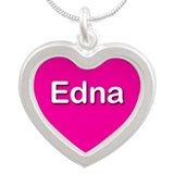 Edna Pink Silver Heart Necklace