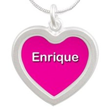 Enrique Pink Silver Heart Necklace