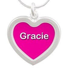 Gracie Pink Silver Heart Necklace