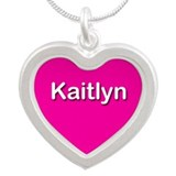 Kaitlyn Pink Silver Heart Necklace