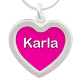 Karla Pink Silver Heart Necklace