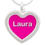 Laura Pink Silver Heart Necklace