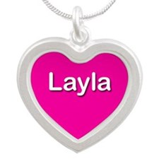 Layla Pink Silver Heart Necklace
