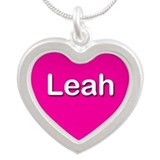 Leah Pink Silver Heart Necklace