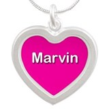 Marvin Pink Silver Heart Necklace