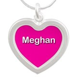 Meghan Pink Silver Heart Necklace