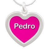 Pedro Pink Silver Heart Necklace
