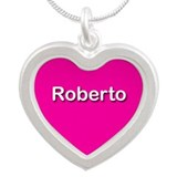 Roberto Pink Silver Heart Necklace