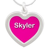 Skyler Pink Silver Heart Necklace