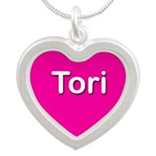 Tori Pink Silver Heart Necklace