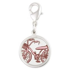 pink-bike.png Silver Round Charm