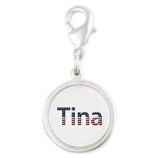 Tina Stars and Stripes Silver Round Charm