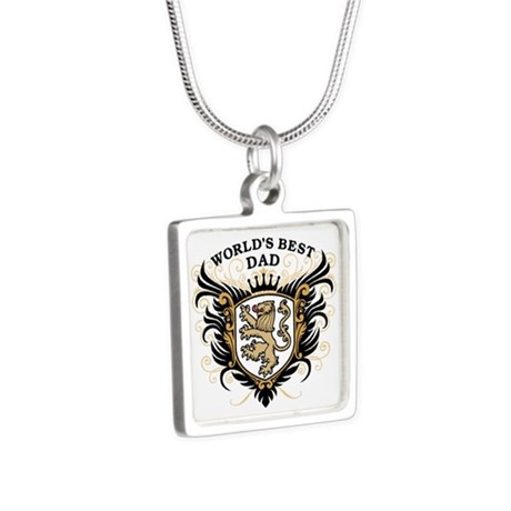 World's Best Dad Silver Square Necklace