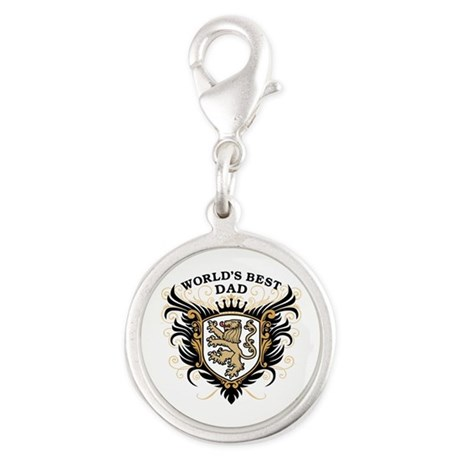 World's Best Dad Silver Round Charm