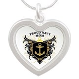Proud Navy Mom Silver Heart Necklace