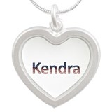 Kendra Stars and Stripes Silver Heart Necklace