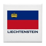 Liechtenstein Flag Gear Tile Coaster