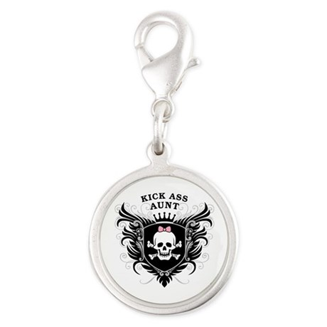 Kick Ass Aunt Silver Round Charm