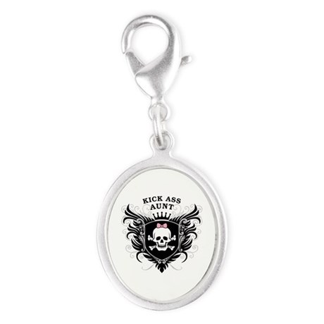 Kick Ass Aunt Silver Oval Charm
