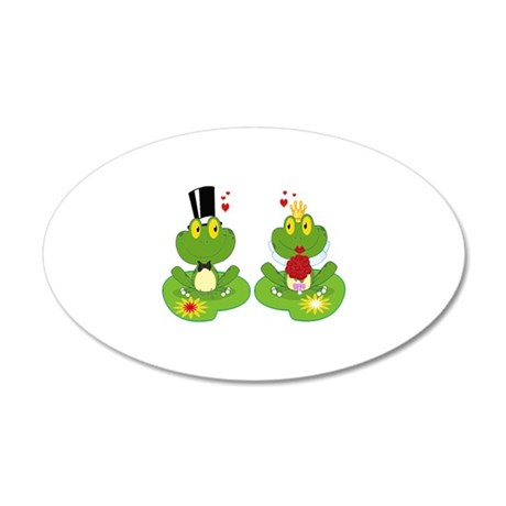 cute bride and groom froggy frog couple 20x12 Oval