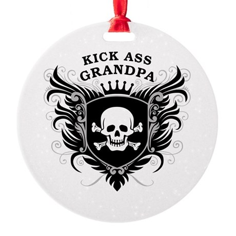 Kick Ass Grandpa Round Ornament