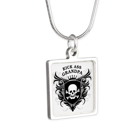 Kick Ass Grandpa Silver Square Necklace