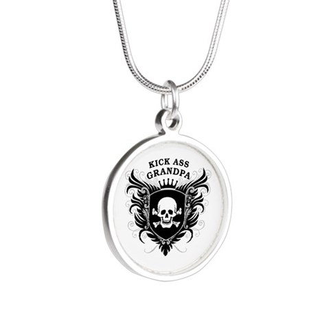 Kick Ass Grandpa Silver Round Necklace
