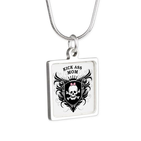 Kick Ass Mom Silver Square Necklace