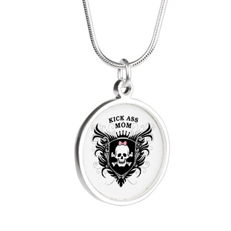 Kick Ass Mom Silver Round Necklace