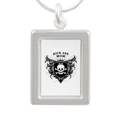 Kick Ass Mom Silver Portrait Necklace