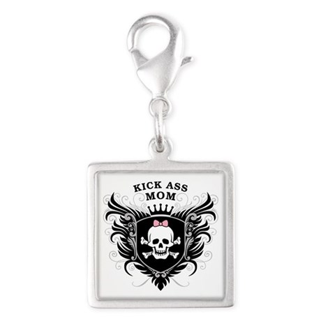 Kick Ass Mom Silver Square Charm