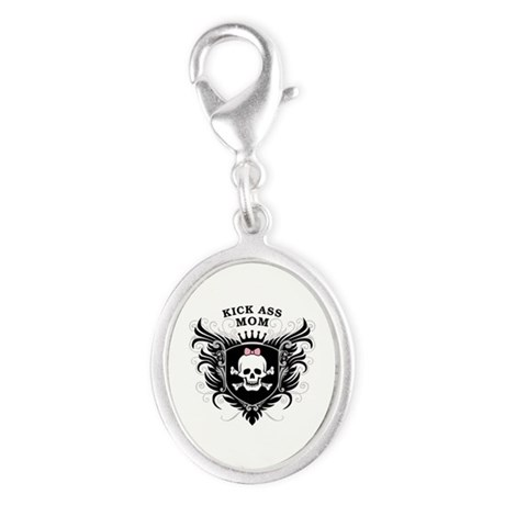 Kick Ass Mom Silver Oval Charm