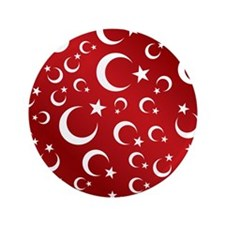 "Turkish Flag Red Picture Frame 3.5"" Button"