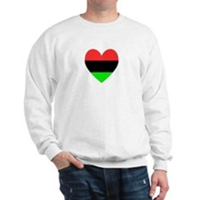 African American Flag Heart Gray Border Sweatshirt