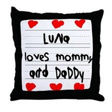 Luna Loves Mommy and Daddy Throw Pillow