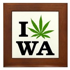 I Love Cannabis Washington Framed Tile