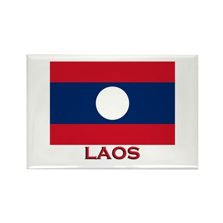 Laos Flag Merchandise Rectangle Magnet