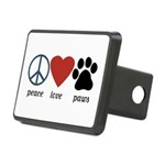 Peace Love Paws Rectangular Hitch Cover