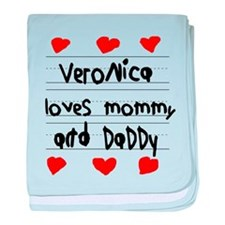 Veronica Loves Mommy and Daddy baby blanket