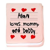 Allan Loves Mommy and Daddy baby blanket