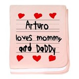 Arturo Loves Mommy and Daddy baby blanket