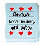 Clayton Loves Mommy and Daddy baby blanket