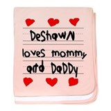 Deshawn Loves Mommy and Daddy baby blanket