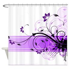purple floral band Shower Curtain