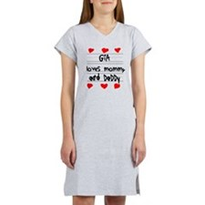 Gia Loves Mommy and Daddy Women's Nightshirt