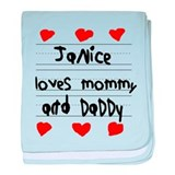 Janice Loves Mommy and Daddy baby blanket