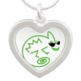 Cool Chameleon Silver Heart Necklace