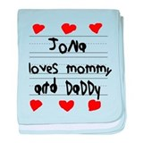 Jona Loves Mommy and Daddy baby blanket