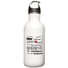Nurse Pride with Red Heart Water Bottle